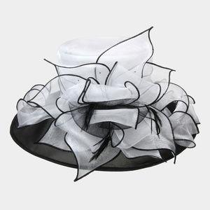 Two Tone Organza Med Brim Layer Hat